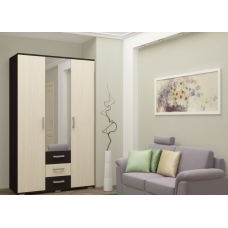 Гостиная Белла шкаф 3х створчатый (ЛДСП Венге + ЛДСП Дуб атланта)