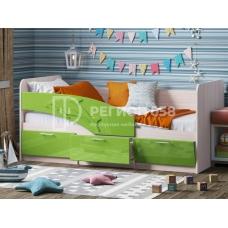 Кровать Дельфин (ЛДСП Ясень шимо светлый + МДФ Салатовый металлик DW 302-6T)