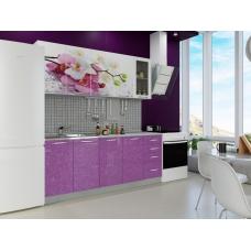 Кухня Орхидея фотопечать (ЛДСП Белый + МДФ Фиолетовый металик + В ассортименте, Орхидея)