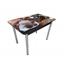 Стол обеденный Престиж раскладной (Хром + Стекло с фотопечатью, Фотопечать Чашка кофе 4024А)
