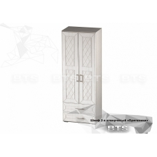 Гостиная Британика шкаф 2-х створчатый (ЛДСП Дуб атланта + МДФ Дуб Блашированный)