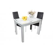 Стол обеденный нераскладной Ривьера (ЛДСП Белый + Стекло с фотопечатью, Фотопечать Прямоугольники)