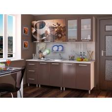 Кухня Шоколад фотопечать (ЛДСП Белый + МДФ Шоколад глянец D 6161-001 + В ассортименте)