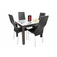 Стол обеденный нераскладной Ривьера (ЛДСП Венге + Стекло с фотопечатью, Фотопечать Прямоугольники)