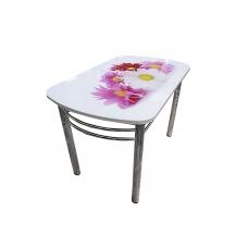 Стол обеденный Премьер не раскладной (Хром + Стекло с фотопечатью, Фотопечать R 188 хризантемы)