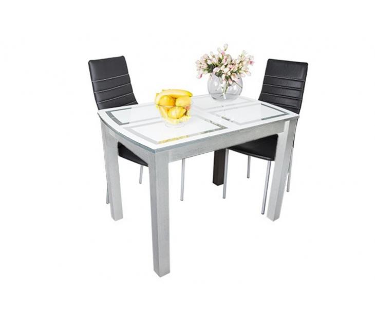 Стол обеденный раскладной Ритм (ЛДСП Белый + Стекло с фотопечатью, Фотопечать Прямоугольники)