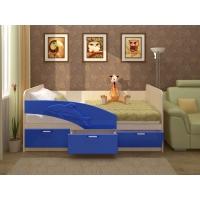 Кровать Дельфин (ЛДСП Дуб белфорт + МДФ Синий металлик)