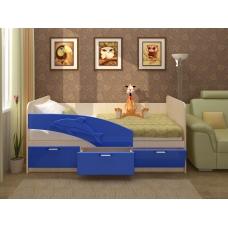 Кровать Дельфин (ЛДСП Дуб белфорт + МДФ Темно-синий металлик)