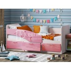 Кровать Дельфин (ЛДСП Ясень шимо светлый + МДФ Розовый металлик DW 402-6T)