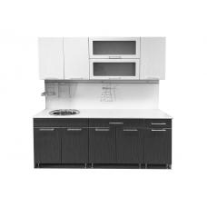 Кухня МДФ (ЛДСП Белый + МДФ Страйп чёрный + В ассортименте)
